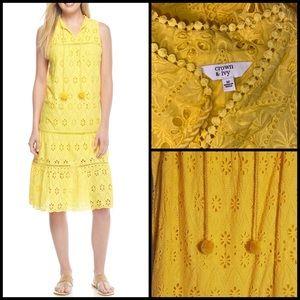 Crown & Ivy Yellow Eyelet Tassel Tie Midi Dress